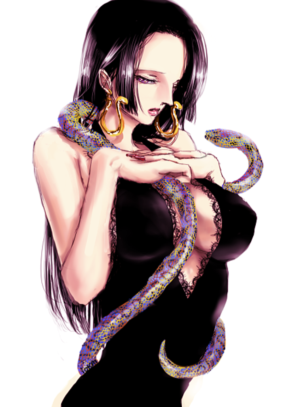 Toon sex pic ##00013061779 boa hancock breasts cape cleavage earrings epaulettes highres jewelry long hair midriff navel one piece