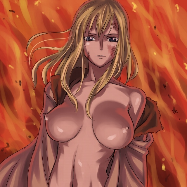 Toon sex pic ##000130162970 female blonde hair breasts fire flame huge breasts milf mosha nico olvia one piece open clothes open shirt orange background shirt solo