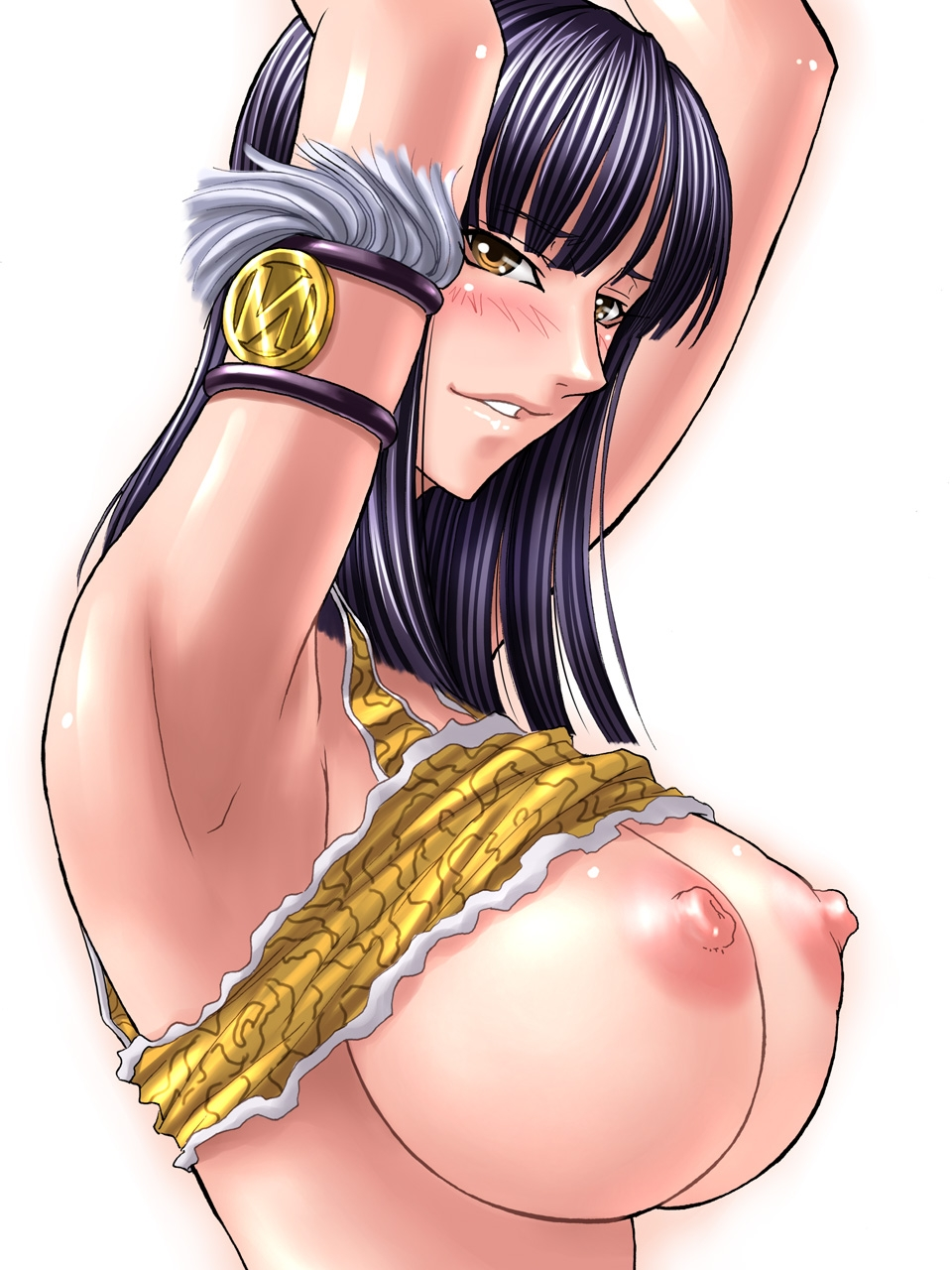 Toon sex pic ##000130292026 female 6942 areolae arms up black hair blush breasts erect nipples female highres huge breasts kagami large breasts nico robin nipples one piece shirt lift short hair solo utility pole spirit yellow eyess