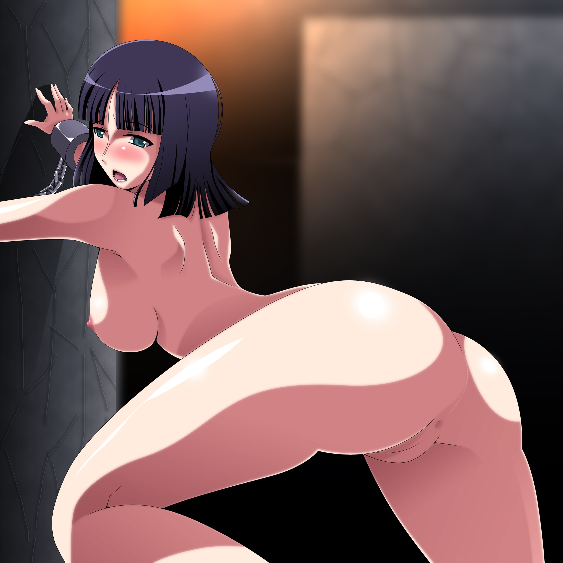 Toon sex pic ##00013091458 female anus ariyon ass bondage bent over black hair bondage bound arms breasts cuffs from behind green eyess highres looking back nico robin nude one piece pussy shackles solo uncensored