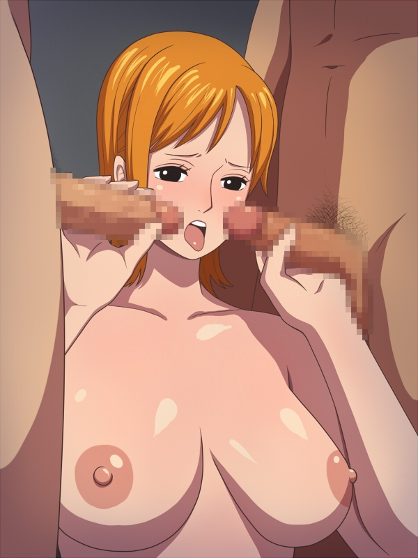 Toon sex pic ##00013083820 black eyess blush breasts censored erect nipples fellatio hako yashiki handjob huge breasts nami nipples no bra one piece open mouth oral orange hair penis pubic hair short hair solo tongue topless