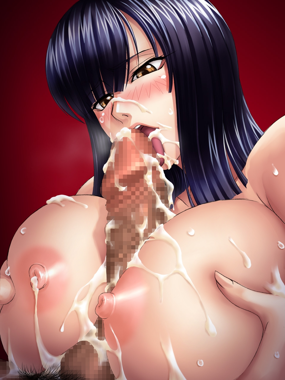 Toon sex pic ##00013084954 blush breast squeeze breasts censored cum cum on body cum on breasts cum on upper body cumdrip dark-skinned male dark penis drooling facial fellatio highres huge breasts interracial kagami licking nico robin nipples one piece open mouth oral paizuri penis purple hair saliva solo sweat tongue yellow eyess