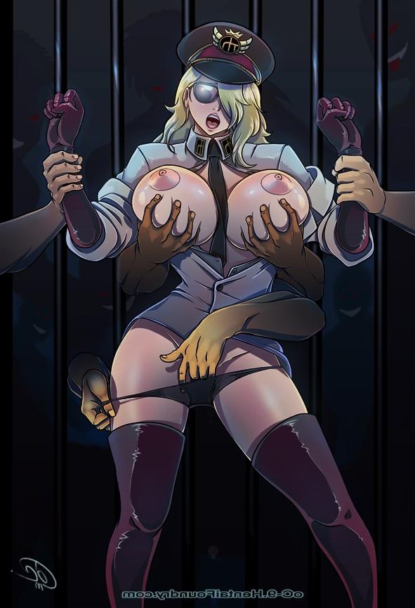 Toon sex pic ##00013077600 blush breasts domino fingering gloves hand in panties lipstick nipples oc-9 one piece panties tie