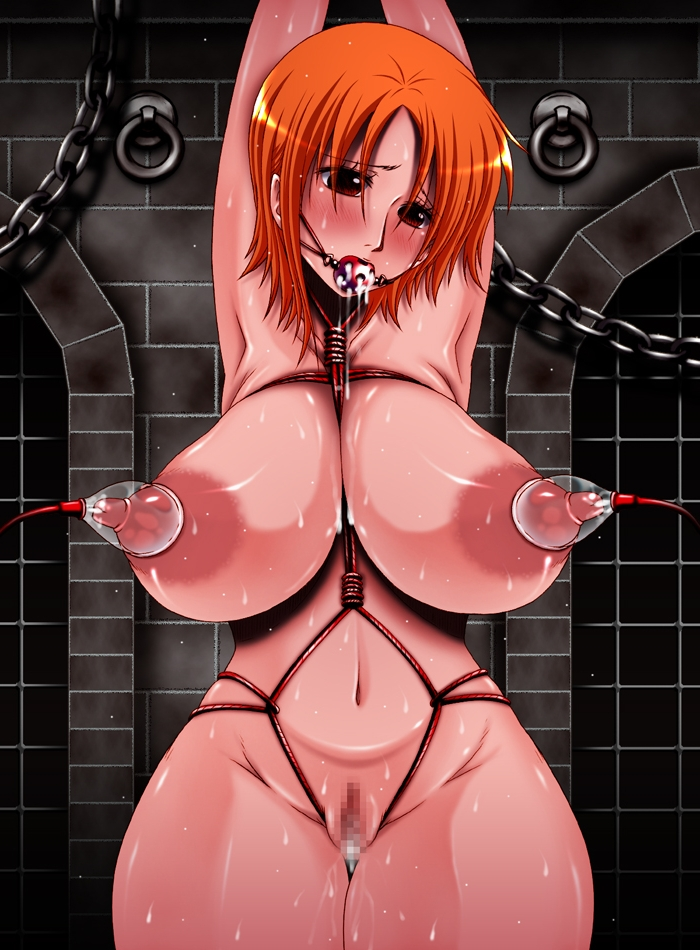 Toon sex pic ##00013079862 areolae bondage blush bondage breasts censored erect nipples hips huge breasts kazuma (pixiv97264) lactation large areolaee long nipples milking machine nami nipples nude one piece pussy thick thighs wide hips
