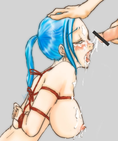 Toon sex pic ##00013065592 bondage blue hair bondage censored cum cum on body fellatio forced lowres nefertari vivi one piece oral rape vivi