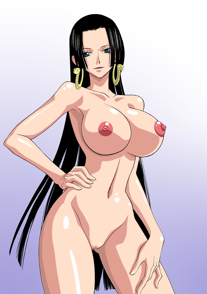 Toon sex pic ##00013063951 bb black hair blue eyes boa hancock breasts censored hand on hip hand on leg hips large breasts long hair nel-zel formula nipples nude one piece pussy shaved pussy smile standing very long hair