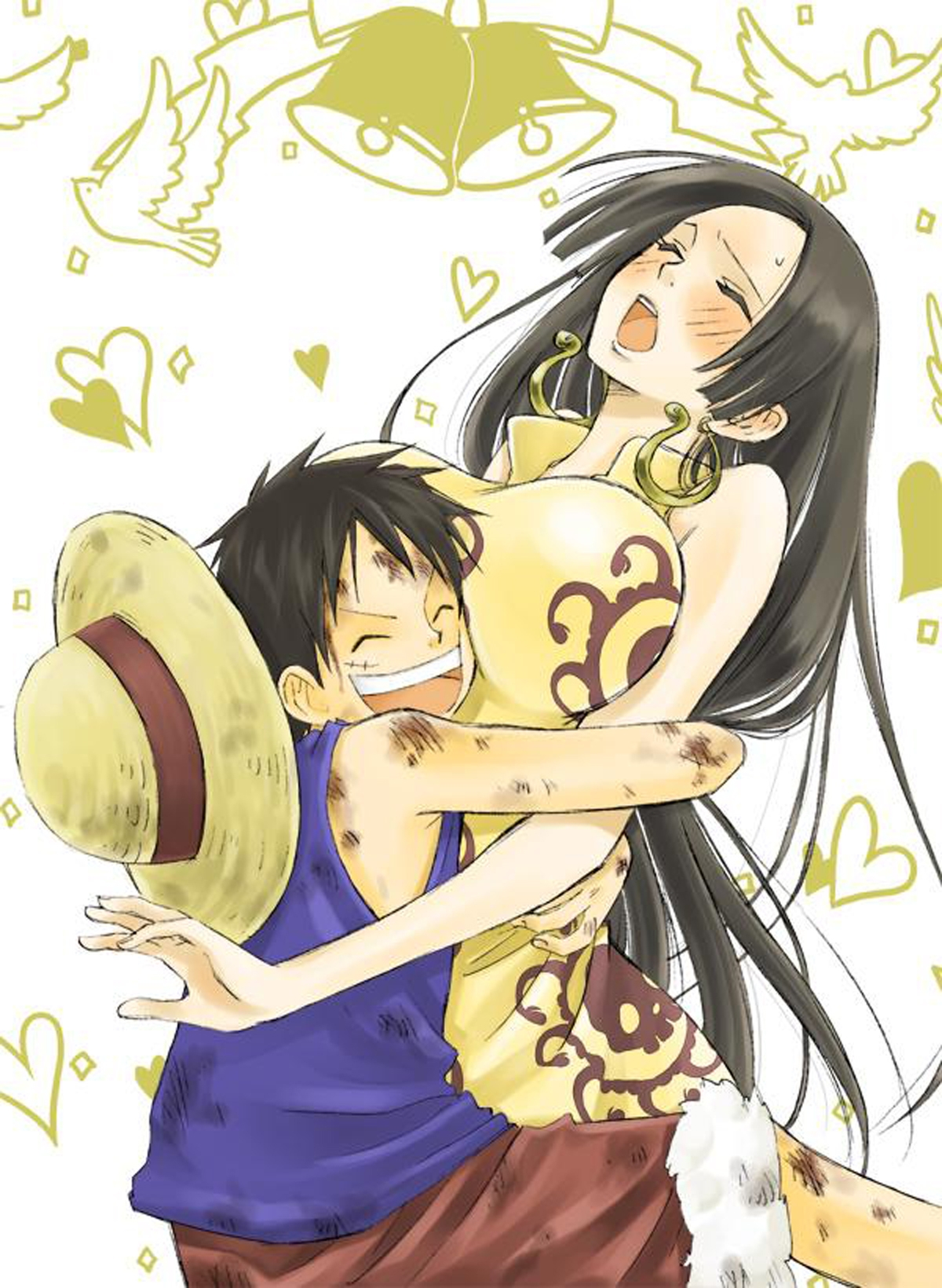 Toon sex pic ##00013062114 1boy female bell black hair blush boa hancock china dress dove dress earrings fur trim hat heart highres hug injury jolly roger long hair monkey d luffy one piece pirate red shorts scar shorts smile straw hat vest yellow dress