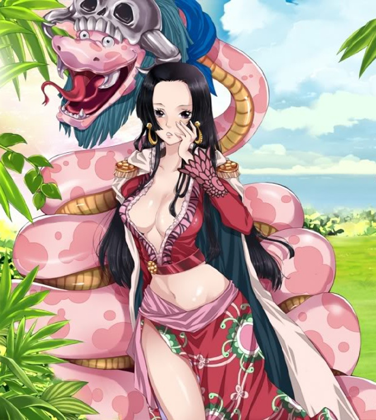 Toon sex pic ##00013062070 boa hancock breasts cape cleavage epaulettes highres one piece salome (one piece) skull snake