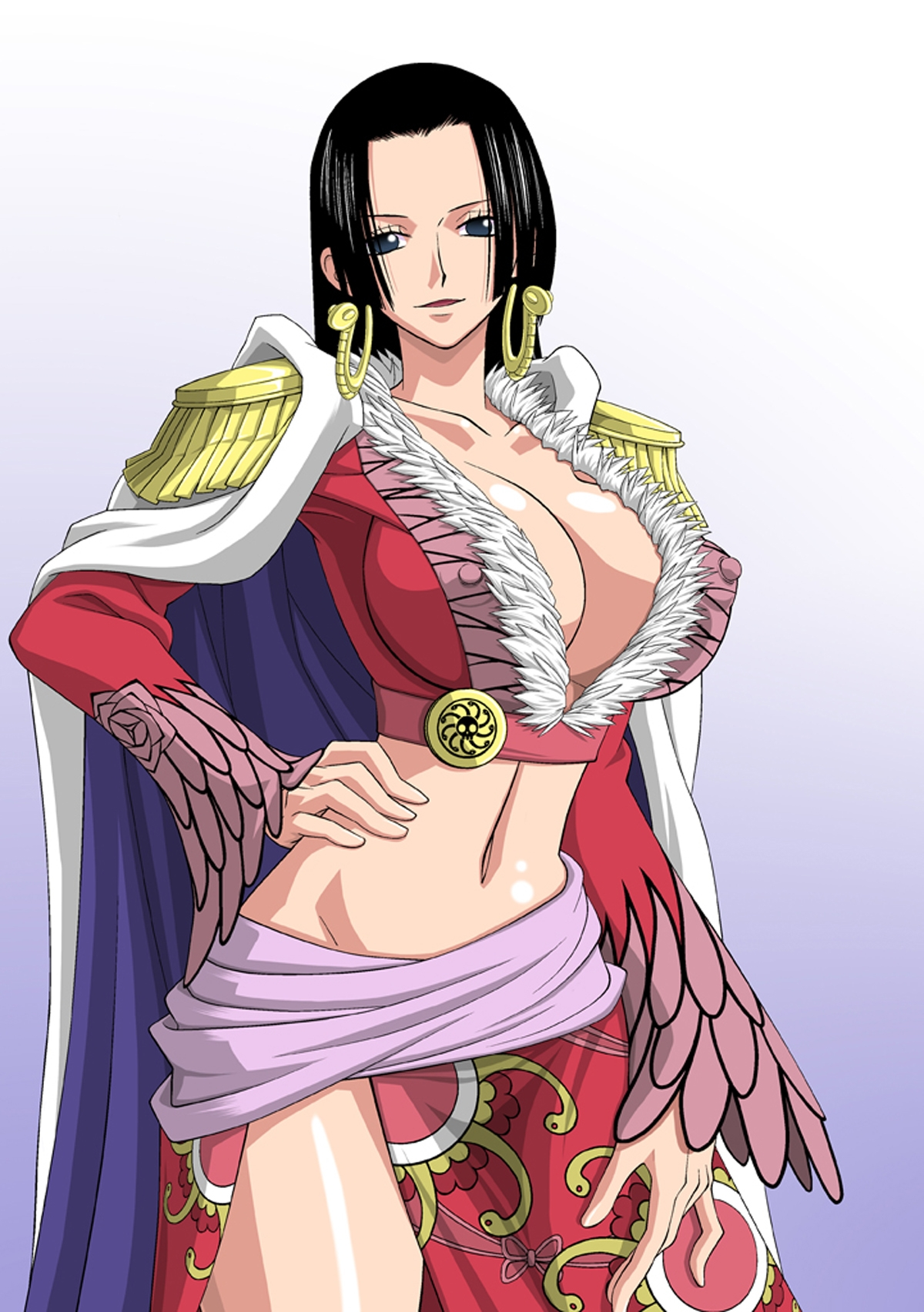 Toon sex pic ##00013062065 bb black hair blue eyess boa hancock breasts cleavage coat earrings erect nipples hand on hip hand on leg highres hips jewelry large breasts midriff navel nel-zel formula nipples one piece solo standing