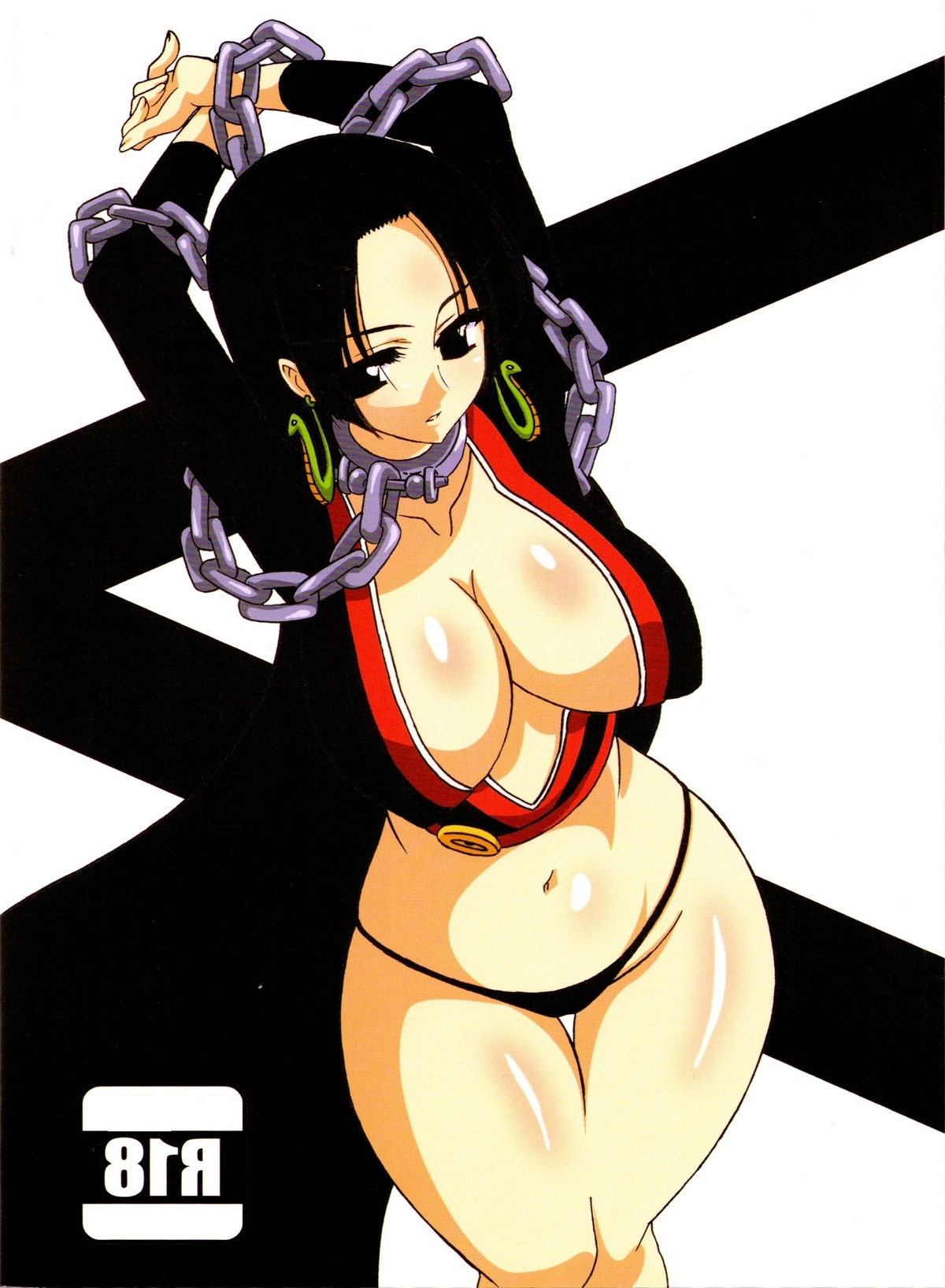 Toon sex pic ##00013062046 arms up bb black panties boa hancock breasts chains chains cleavage collar highres large breasts no bra one piece panties underwear