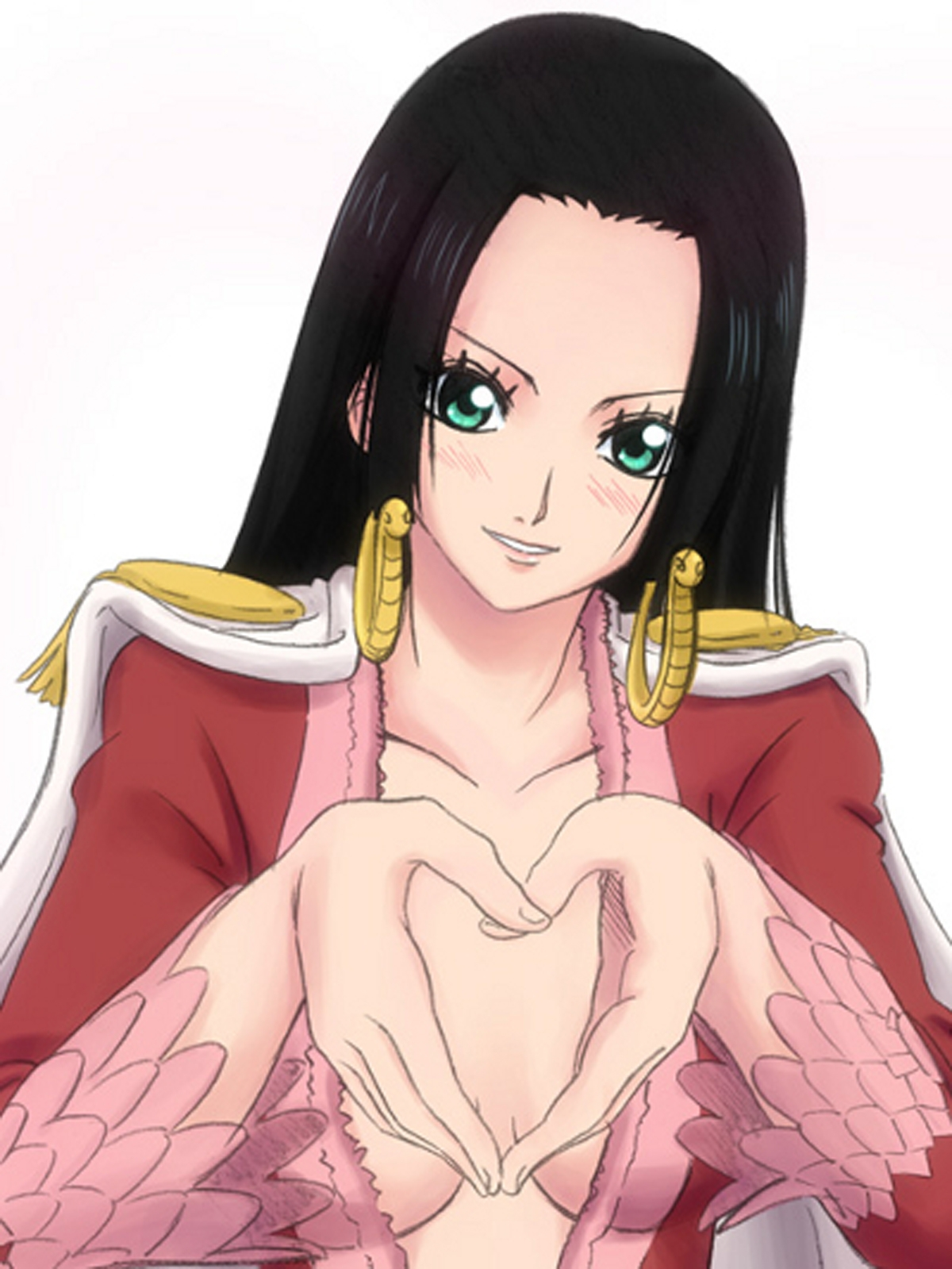 Toon sex pic ##00013061810 aqua eyes black hair boa hancock cape earrings female heart high resolution long hair looking at viewer one piece red jacket simple background solo white background