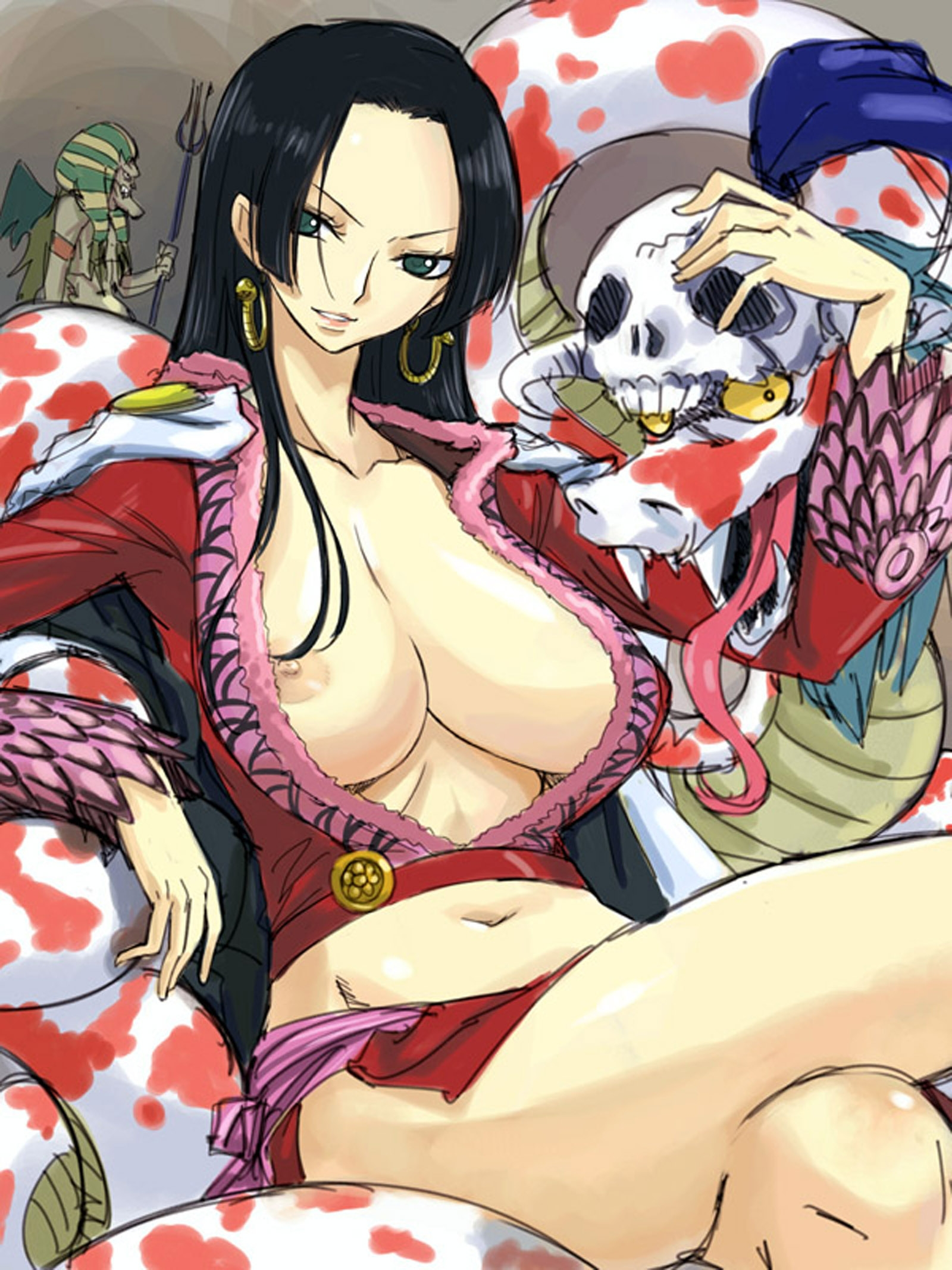 Toon sex pic ##00013061803 black hair boa hancock breasts crossed legs earrings green eyess hannyabal highres huge breasts jewelry legs crossed long hair michael midriff nipple slip nipples no bra one piece resized salome (one piece) sitting skirt skull smile snake