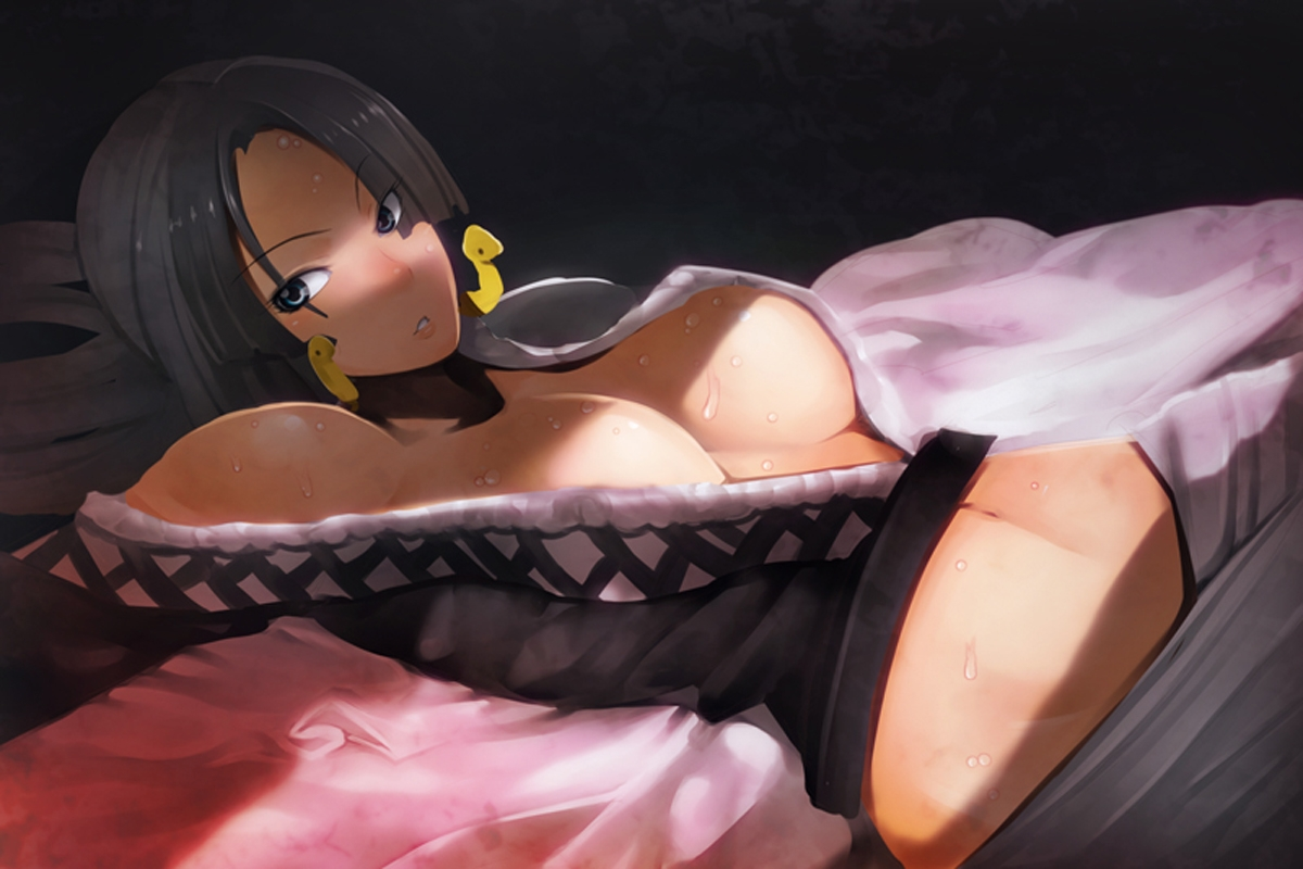 Toon sex pic ##00013061802 black hair boa hancock breasts cleavage earrings jewelry kosame daizu large breasts long hair lying one piece solo sweat
