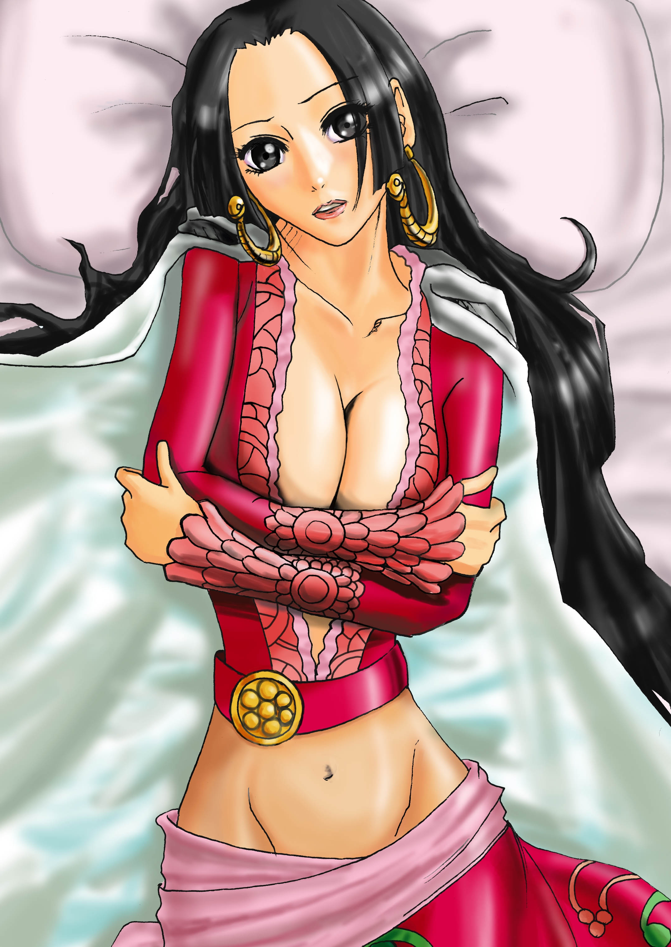 Toon sex pic ##00013061774 boa hancock breasts cape cleavage earrings epaulettes high resolution jewelry long hair midriff navel one piece