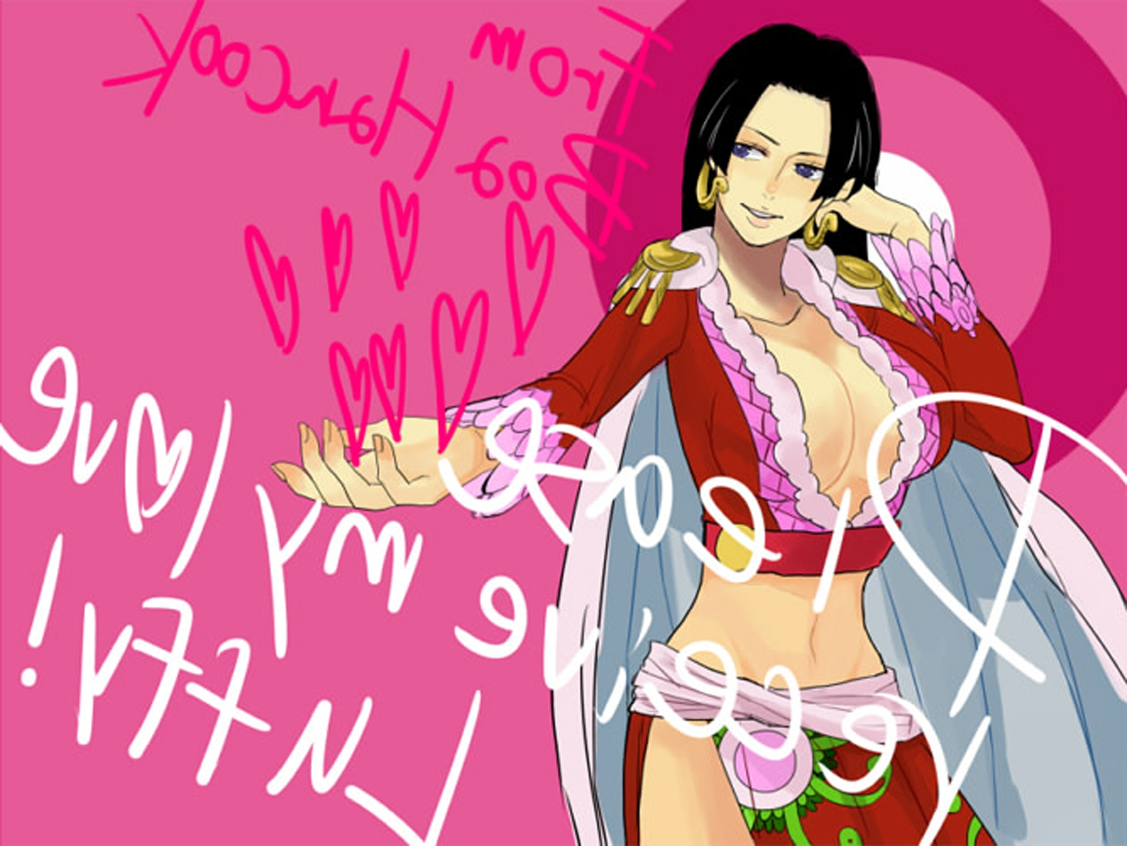 Toon sex pic ##00013061773 female black hair boa hancock breasts cape cleavage earrings female heart highres long hair long skirt midriff monkey d luffy navel one piece purple eyess red jacket side slit skirt solo standing text valentine