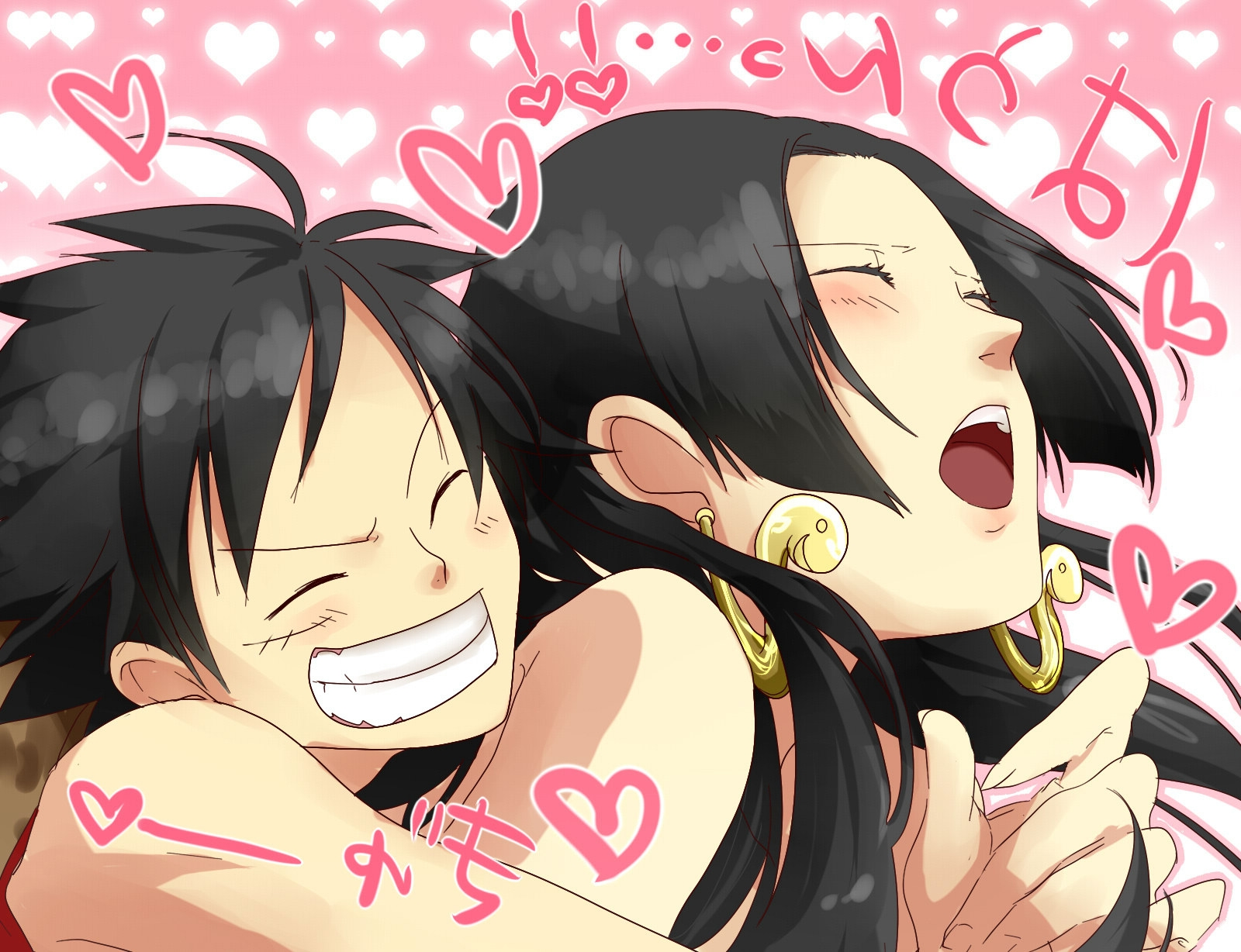Toon sex pic ##00013061748 black hair blush boa hancock earrings heart heart highres jewelry long hair monkey d luffy one piece open mouth sexually suggestive smile sss3