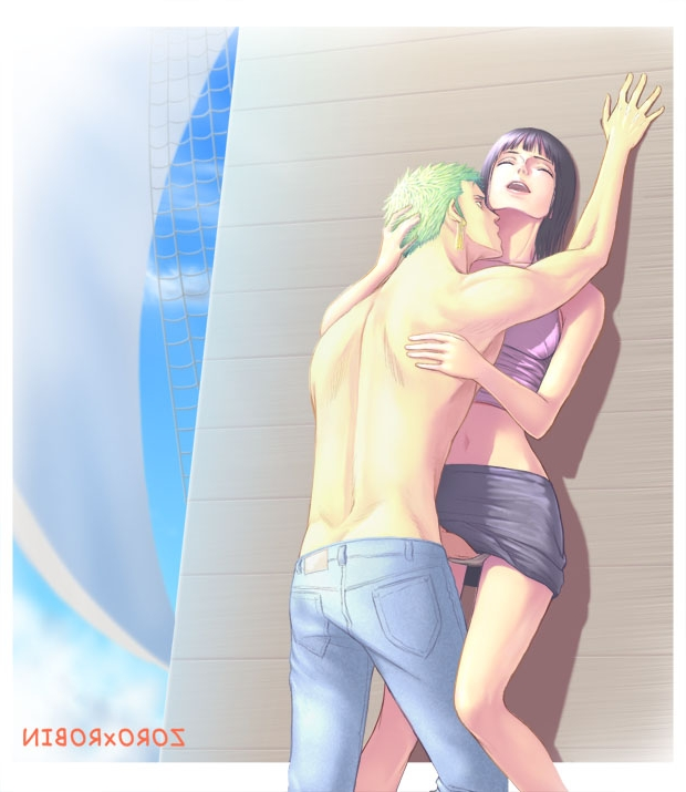 Toon sex pic ##000130284461 1boy female against wall black hair censored earrings female fingering green hair hug jeans jewelry kissing male muscle navel nico robin one piece penis pirate roronoa zoro sex ship skirt sky standing straight topless