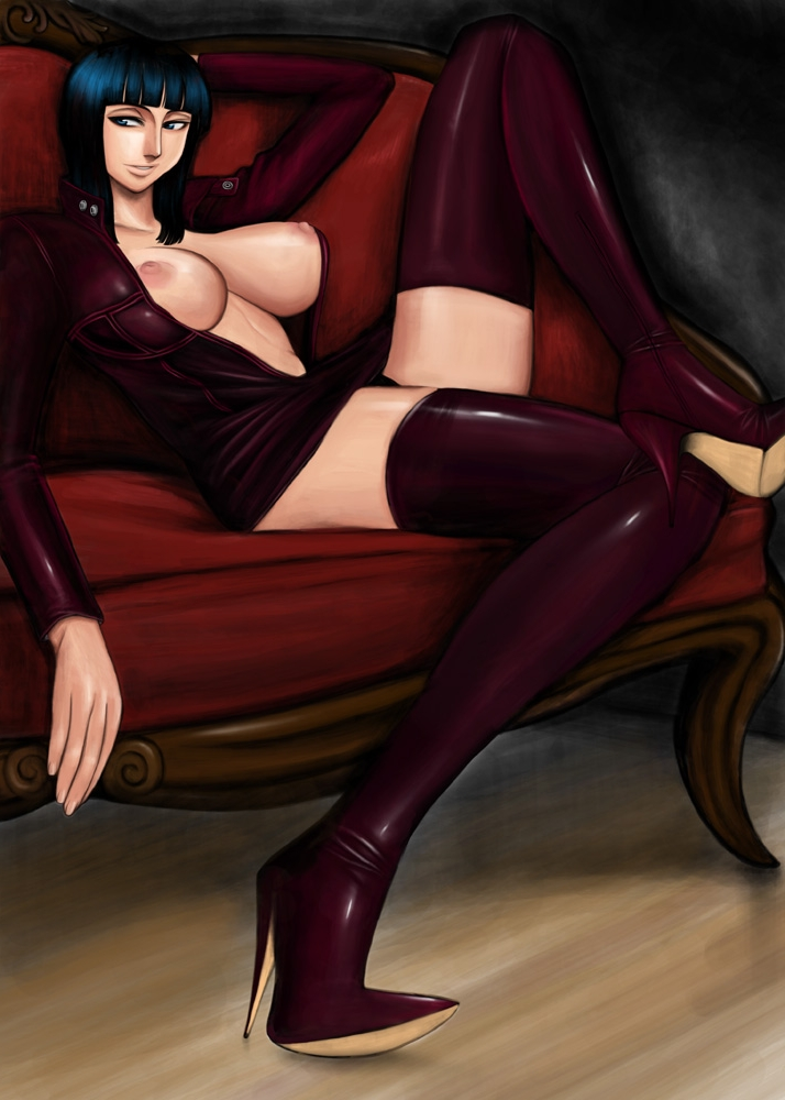Toon sex pic ##000130281917 boots breasts couch high heels huge breasts komii miniskirt nico robin nipples one piece open clothes open shirt shirt shoes sitting skirt thigh boots thighhighs