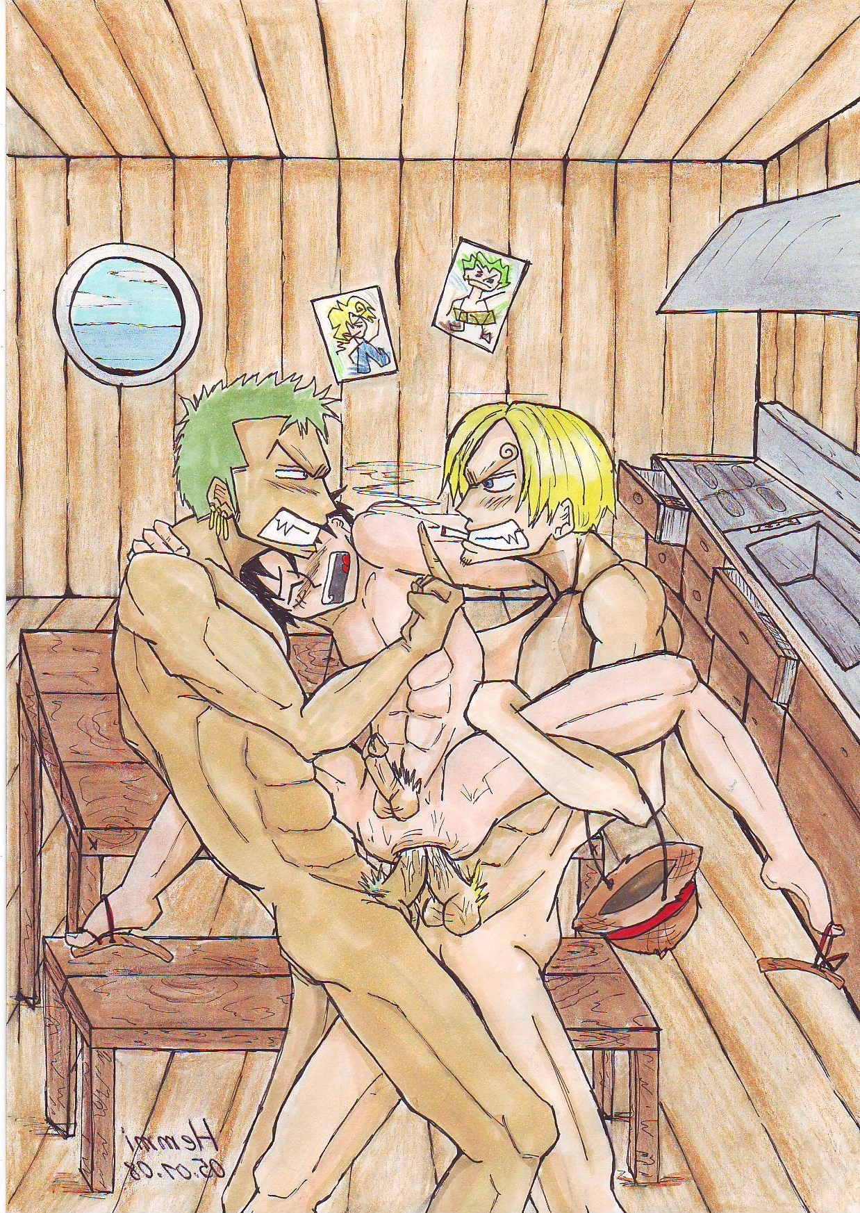 Toon sex pic ##000130281857 male monkey d. luffy one piece roronoa zoro sanji yaoi