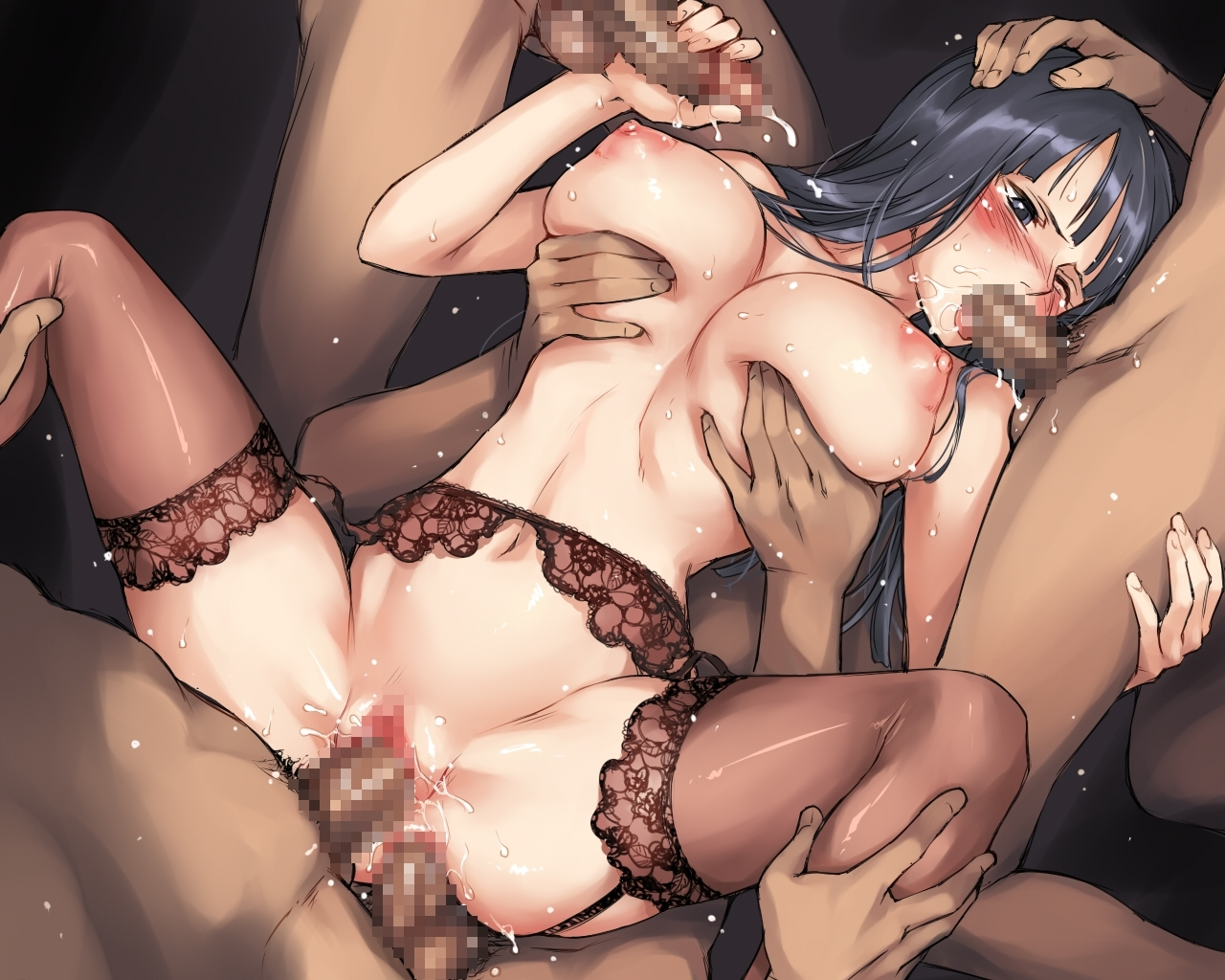 Toon sex pic ##00013037206 black hair breast grab breasts censored cum dark-skinned male dark penis double penetration ejaculation fellatio gangbang garter belt group sex hand on head handjob huge breasts interracial long hair male pubic hair mosaic censoring mosha multiple penises nico robin nude one piece oral penis pubic hair sex sweat thighhighs topless triple penetration