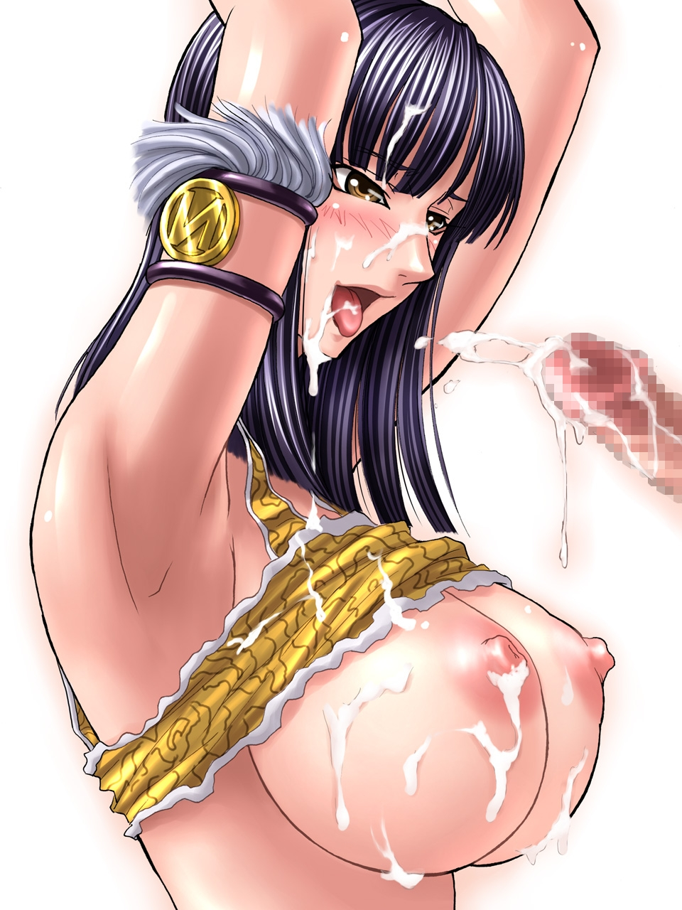 Toon sex pic ##00013030007 armlet arms up black hair blush breasts bukkake censored cum cum in mouth cum on body cum on breasts cum on clothes cum on hair cum on tongue cum on upper body cumdrip ejaculation facial highres huge breasts kagami large breasts long hair nico robin nipples one piece open mouth penis purple hair shirt lift short hair simple background solo tongue yellow eyess