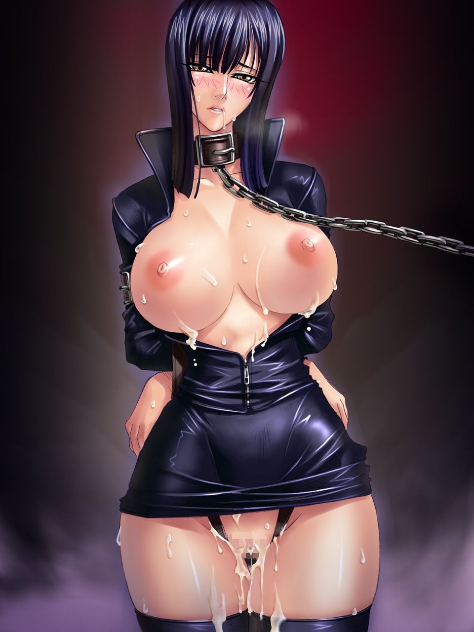 Toon sex pic ##00013029994 breasts brown eyes censored chains collar cum highres huge breasts kagami leash nico robin nipples one piece open clothes open shirt saliva shirt short hair skirt slave sweat thighhighs tied zettai ryouiki