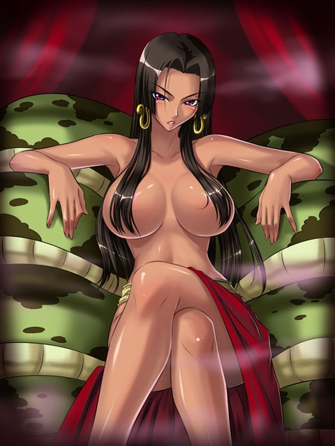 Toon sex pic ##000130308639 female boa hancock breasts crossed legs dark skin earrings hair over breasts huge breasts jewelry kagami large breasts lipstick long hair makeup one piece purple eyess sitting snake solo topless utility pole spirit