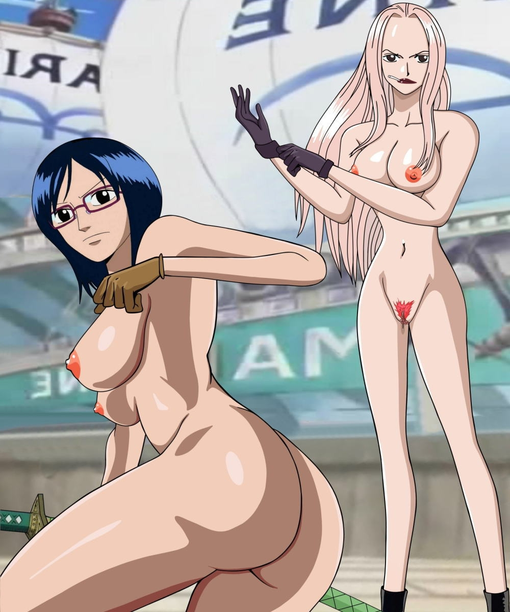 Toon sex pic ##000130173422 ass blue hair breasts cigarette glasses highres hina hina (one piece) huge breasts katana one piece pink hair pussy sword tashigi uncensored weapon