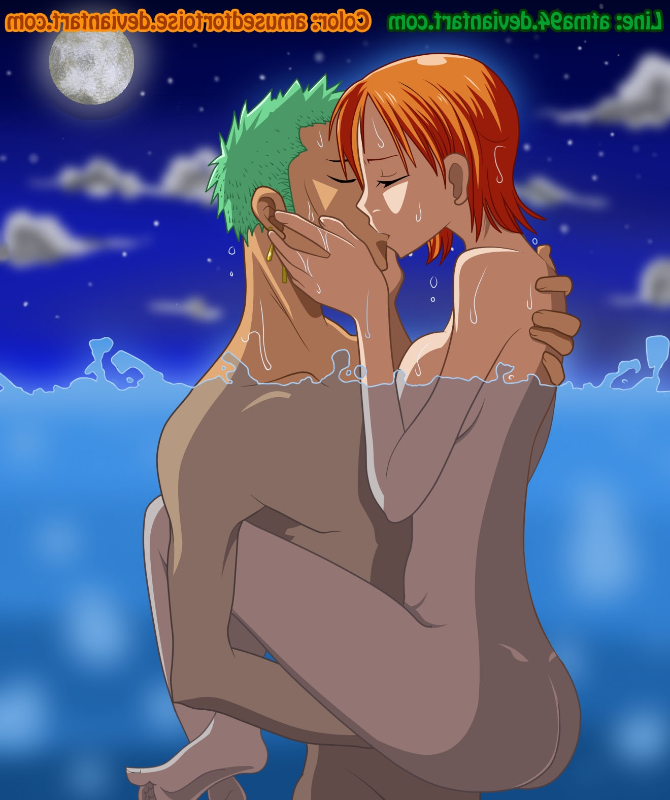 Toon sex pic ##0001301310100 amusedtortoise ass atma94 color female green hair hair human kissing male moon nami night nude one piece orange hair outdoors roronoa zoro side view straight water
