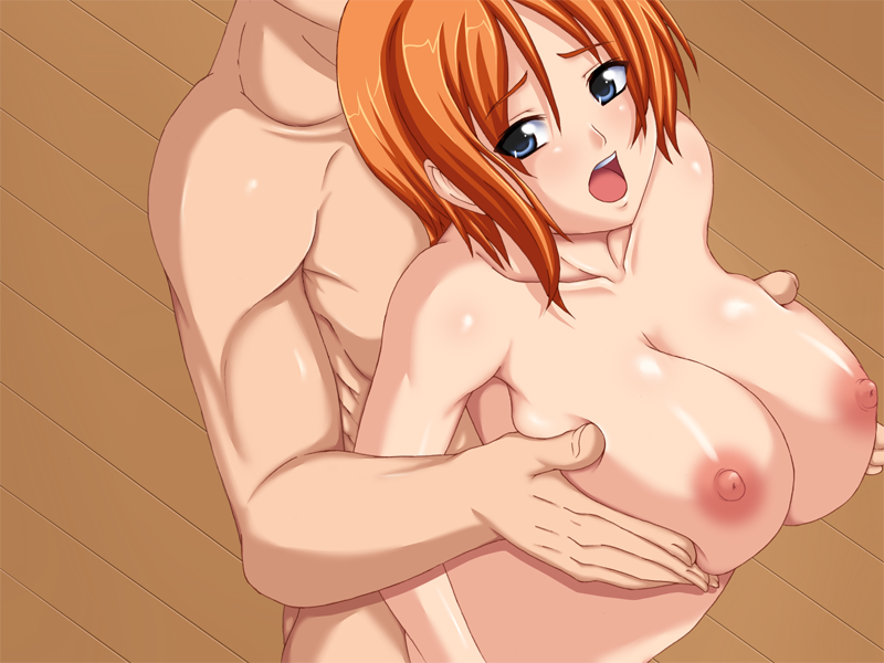 Toon sex pic ##000130330036 :o blue eyess blush breast grab breast squeeze breasts brown eyess dutch angle from above groping hands katase tomoya large breasts looking at viewer muscle nami nipples nude one piece open mouth orange hair original ribs sex short hair standing