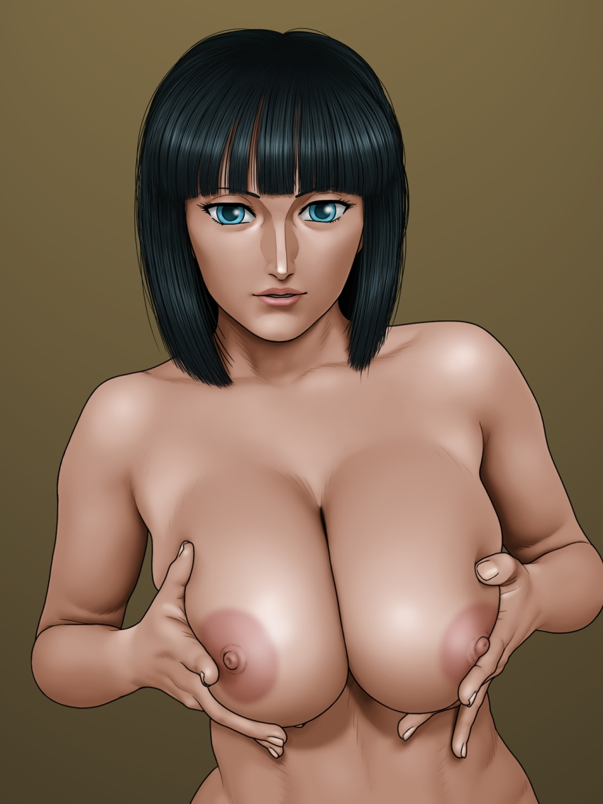 Toon sex pic ##0001301263810 female areolae black hair blue eyess breast grab breasts highres karma laboratory large breasts lips lipstick looking at viewer nico robin nipples nude one piece short hair simple background standing