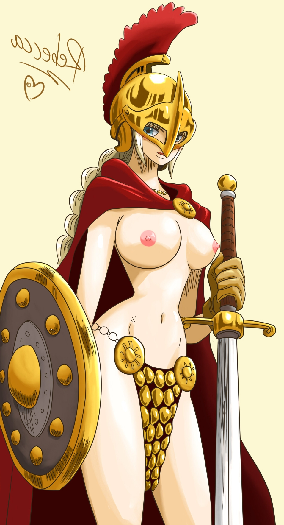 Toon sex pic ##0001301262305 armor blonde hair blue eyess breasts helmet highres large breasts nipples one piece rebecca (one piece) shield sword topless warrior weapon