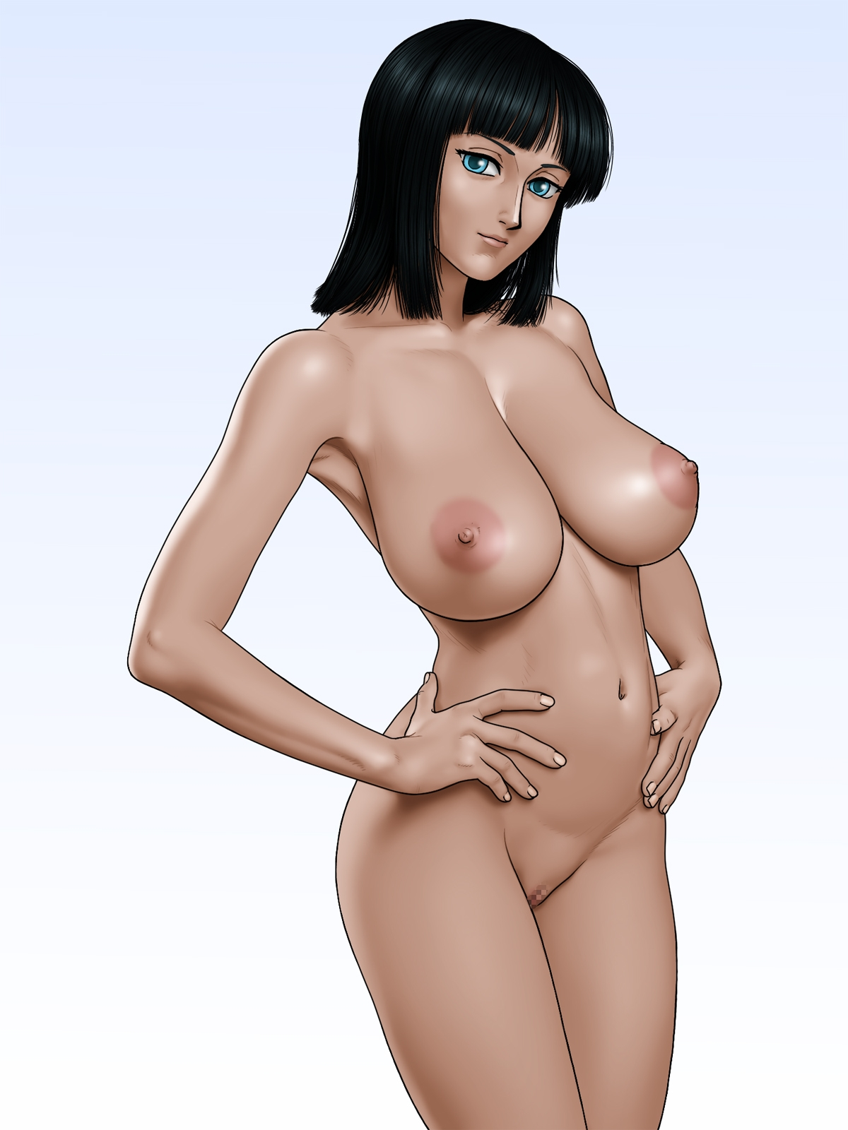 Toon sex pic ##0001301259451 areolae black hair blue eyess breasts censored hands on hips highres hips karma laboratory large breasts legs looking at viewer navel nico robin nipples nude one piece pussy short hair simple background solo standing thighs
