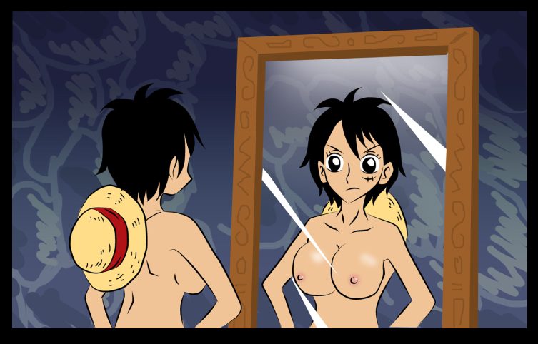 Toon sex pic ##0001301405998 1girl areola breasts busty cleavage erect nipples female female only genderswap jaredofart luffyko mirror monkey d luffy nipples one piece rule 63 straw hat voluptuous