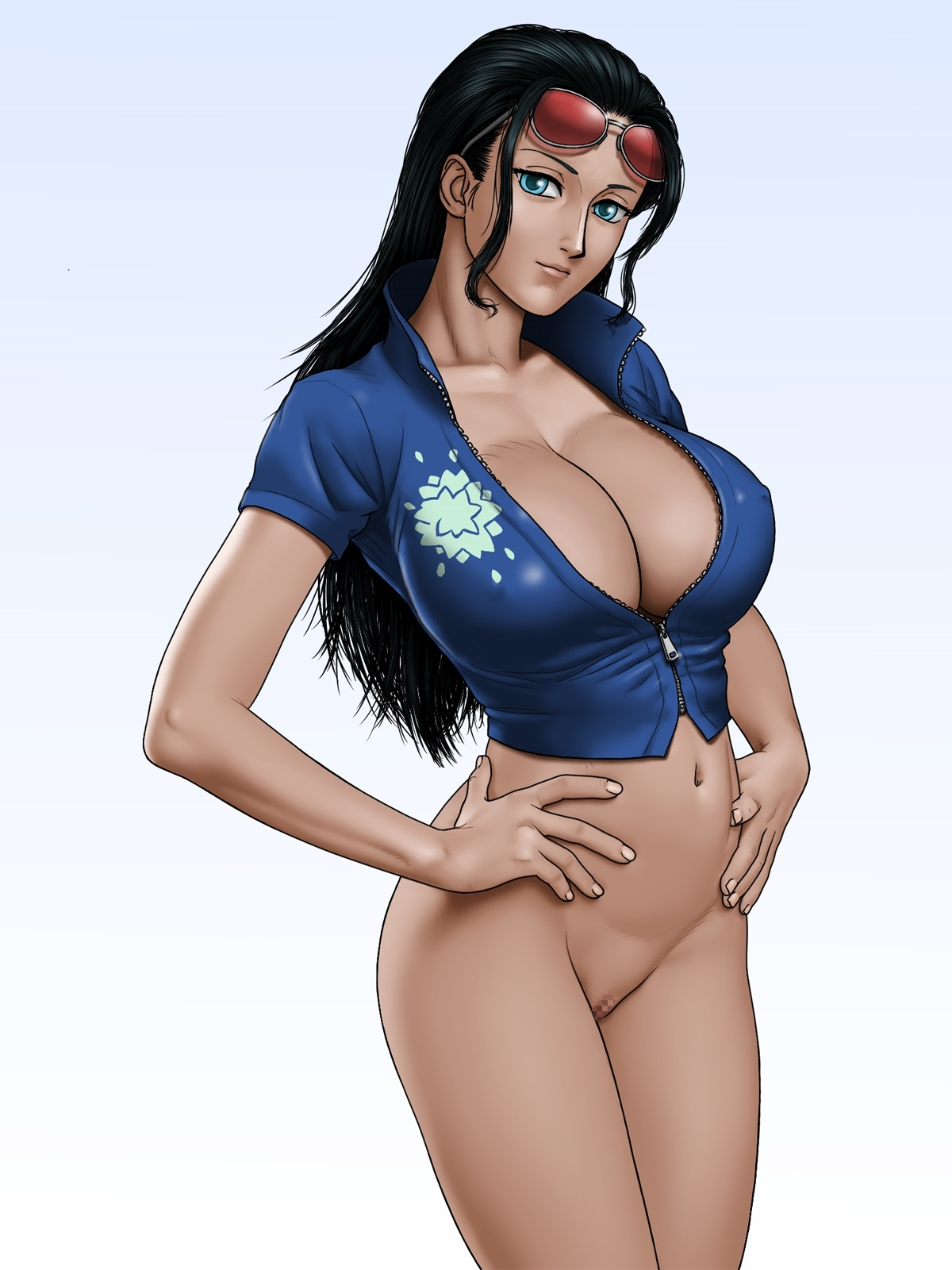Toon sex pic ##0001301575602 bottomless censored highres karma-laboratory large breasts nico robin no panties one piece standing