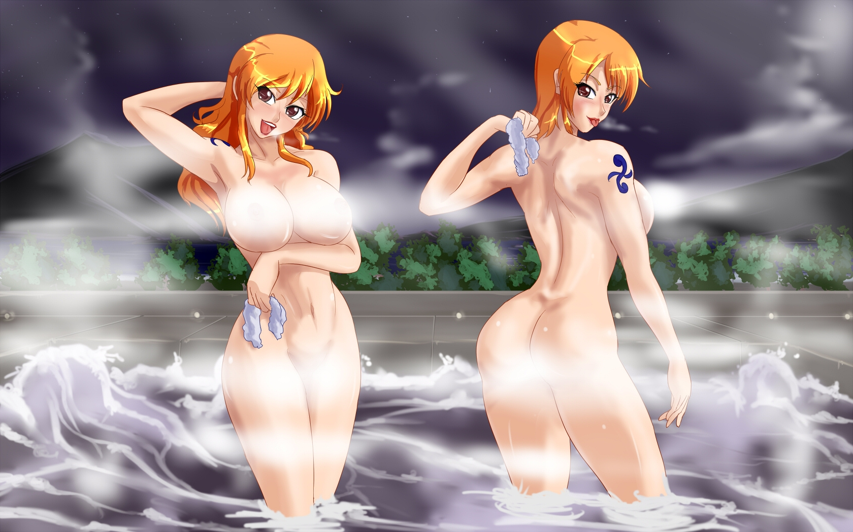 Toon sex pic ##0001301215691 female 2girls approximated aspect ratio armpits arms up ass blush breasts brown eyess censored convenient censoring dual persona female highres large breasts long hair looking at viewer looking back mountain multiple girls nami navel nude one piece onsen open mouth orange hair short hair sky standing steam tattoo water