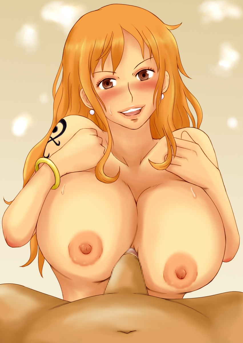 Toon sex pic ##0001301245265 areolae blush bracelet breasts brown eyess censored earrings highres jewelry large breasts long hair looking at viewer momo 765 nami nipples nude one piece open mouth orange hair paizuri penis pirate smile sweat tattoo