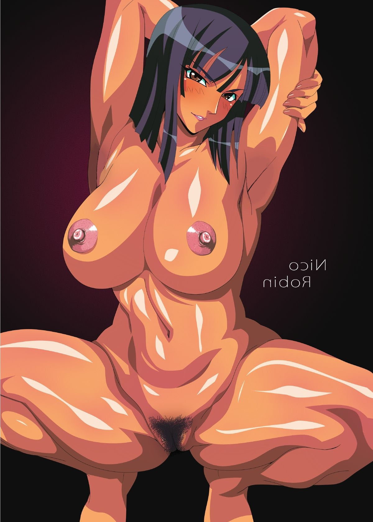 Toon sex pic ##0001301194848 areolae armpits artist request belly black hair blush breasts brown eyess erect nipples female highres jpeg artifacts large breasts navel nico robin nipples nude one piece photoshop pubic hair pussy seductive smile solo