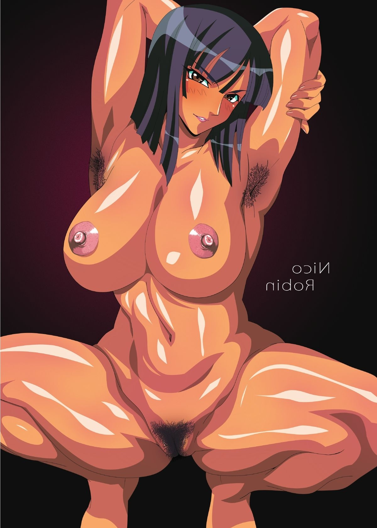 Toon sex pic ##0001301194005 areolae armpit hair armpits artist request belly black hair blush breasts brown eyess erect nipples female highres jpeg artifacts large breasts navel nico robin nipples nude one piece pubic hair pussy seductive smile solo