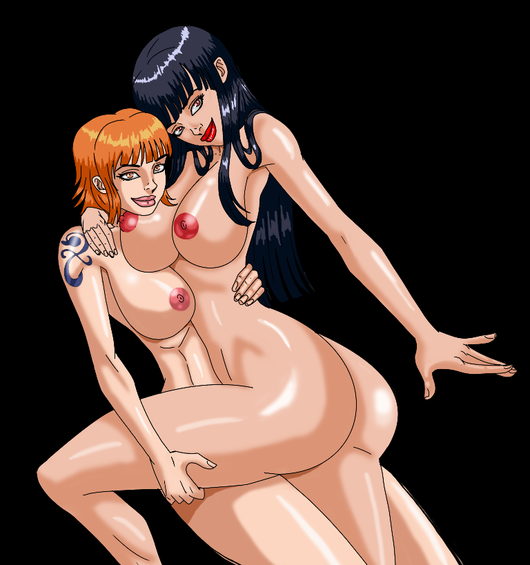 Toon sex pic ##0001301371371 ass black hair breasts color cssp female female only hair human multiple females nami nico robin nipples nude one piece orange hair tagme tattoo yuri