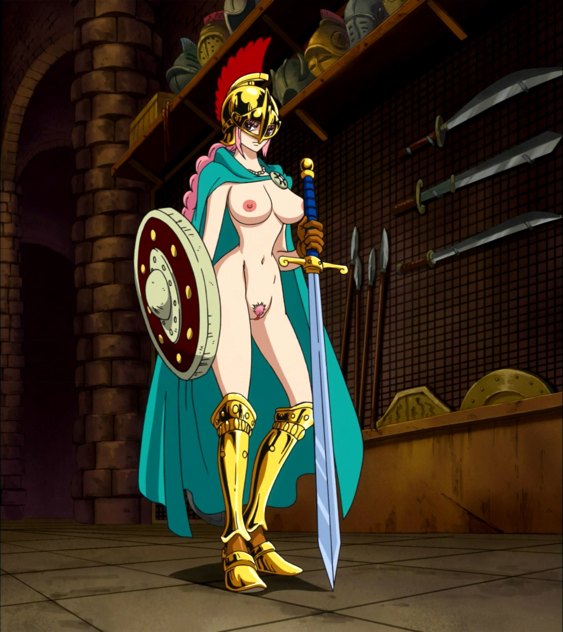Toon sex pic ##0001301597709 armor braid breasts cape female garou damenade helmet large breasts long hair navel nipples nude nude filter one piece photoshop pink hair pubic hair pussy rebecca (one piece) shield solo standing sword uncensored weapon