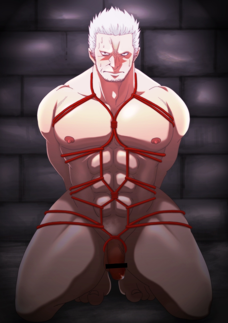 Toon sex pic ##0001301075272 bondage flaccid male male only nude one piece shibari smoker solo solo male tagme yaoi