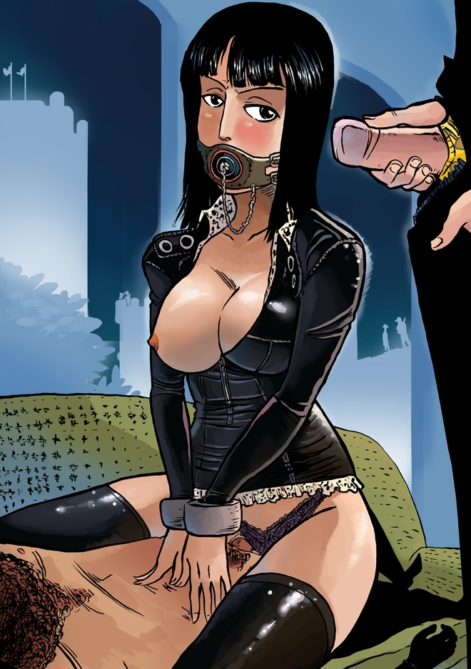 Toon sex pic ##0001301053467 black hair breasts cowgirl position cowgirl position group sex nico robin one piece panties plug gag sex threesome uncensored underwear