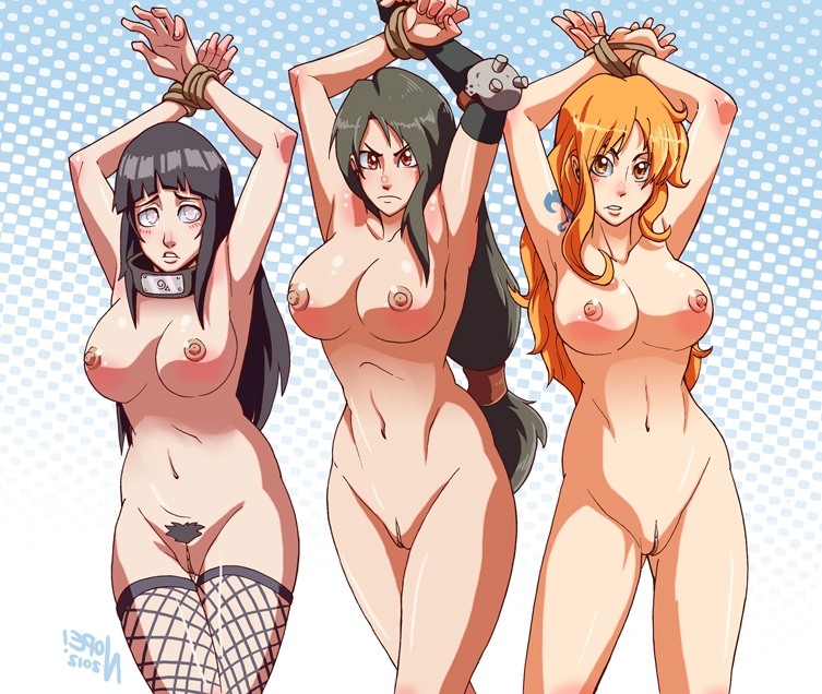 Toon sex pic ##000130988121 3girls black hair bondage bound wrists breasts crossover female final fantasy final fantasy vii fishnets hyuuga hinata long hair nami naruto nopeavi nude one piece orange hair restrained rope tattoo thigh gap thighhighs tifa lockhart uncensored vagina
