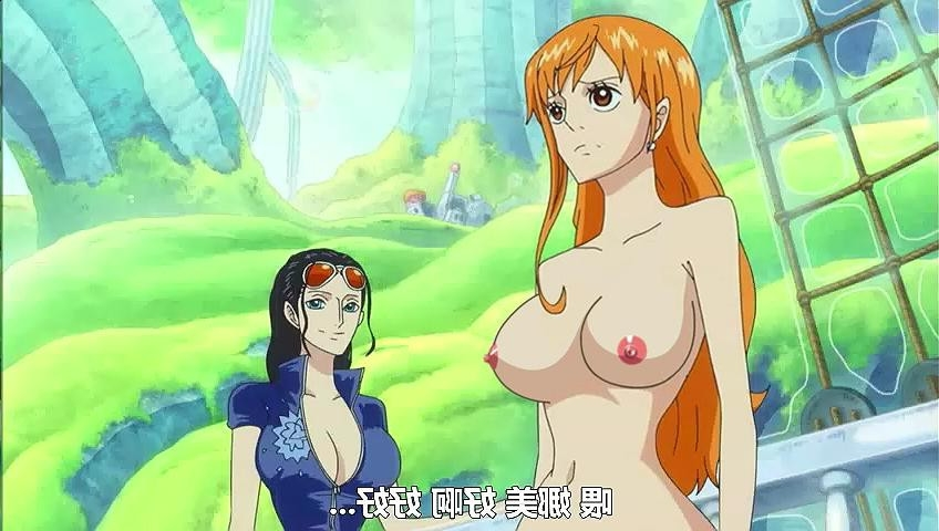 Toon sex pic ##000130964028 breasts brown eyess chinese text clothing color covered breasts exposed breasts eyess female female only glasses human human only multiple females naked nami nico robin nipples nude nude filter one piece open eyess photoshop screencap text