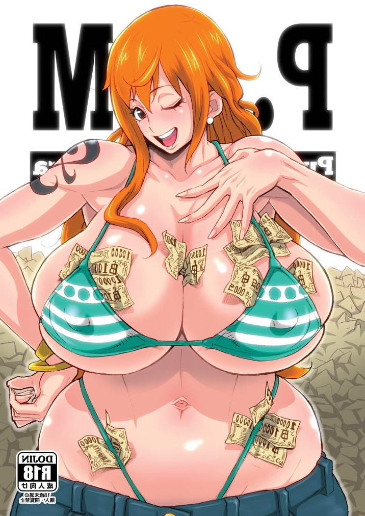 Toon sex pic ##0001301478050 big breasts bikini bikini top blush body blush breasts brown eyes cleavage clothes color cover erect nipples female female only front view g-string hips human long hair money nami nipples one piece orange hair solo tattoo thong wide hips wink