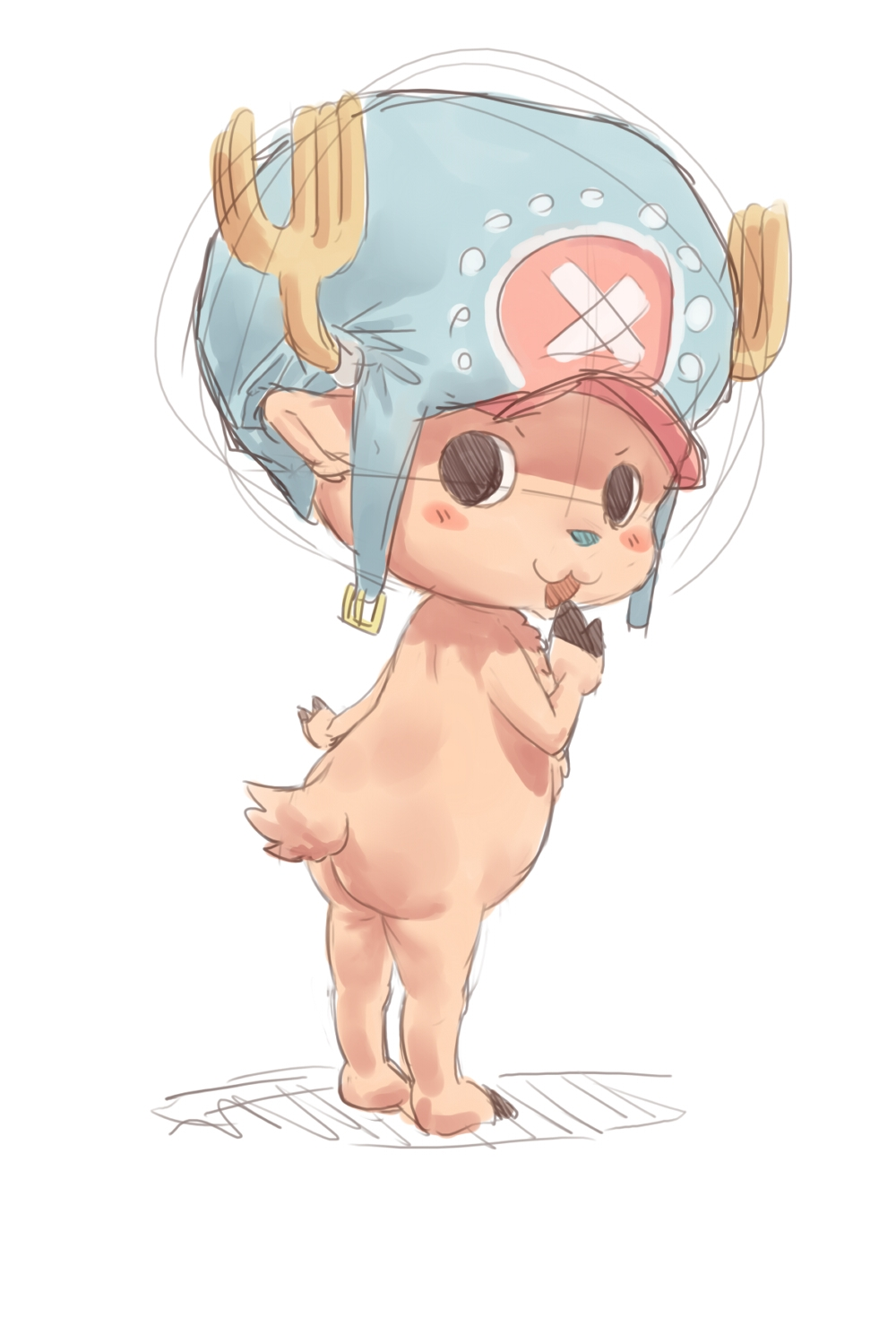 Toon sex pic ##000130875345 1boy antlers back chopper hat male monster boy nude one piece solo solo male standing tail tony tony chopper