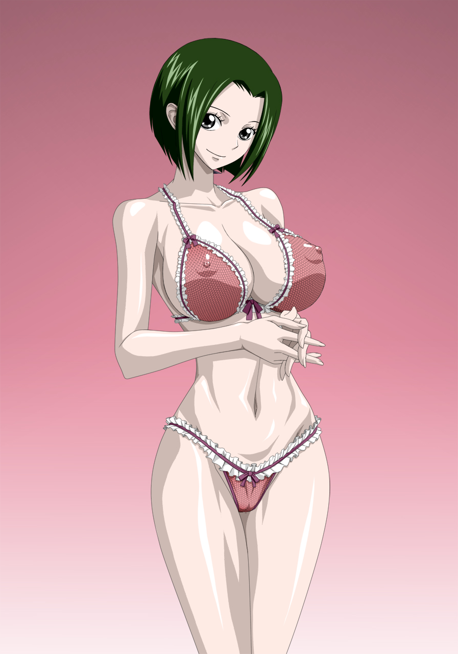Toon sex pic ##0001301275431 female cleavage female green hair lingerie makino nel-zel formula one piece short hair smile tagme