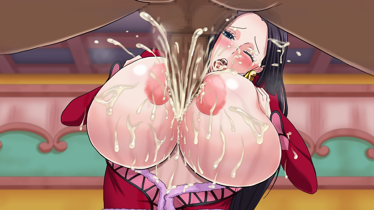 Toon sex pic ##0001301464540 areolae black hair blush boa hancock breast squeeze breasts breasts outside censored cum cum on breasts ejaculation female huge breasts inverted nipples long hair mikanberry one piece open mouth paizuri penis testicles wink