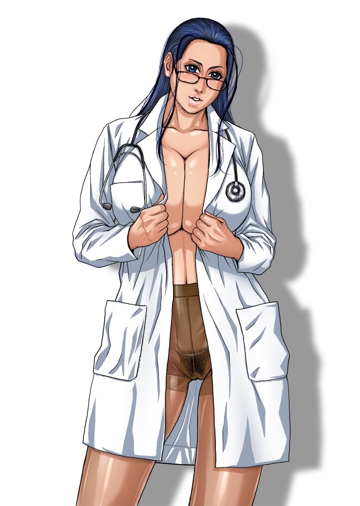 Toon sex pic ##000130816094 glasses kazuki kotobuki lab coat nico robin no panties one piece pantyhose pubic hair see-through pantyhose